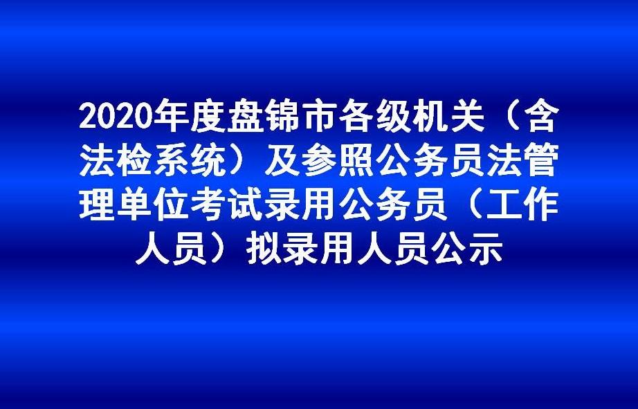 2020年度盘锦市各级机关(含法检系统)及参照公务员法管理单位考试录用公务员 (工作人员)拟录用人员公示