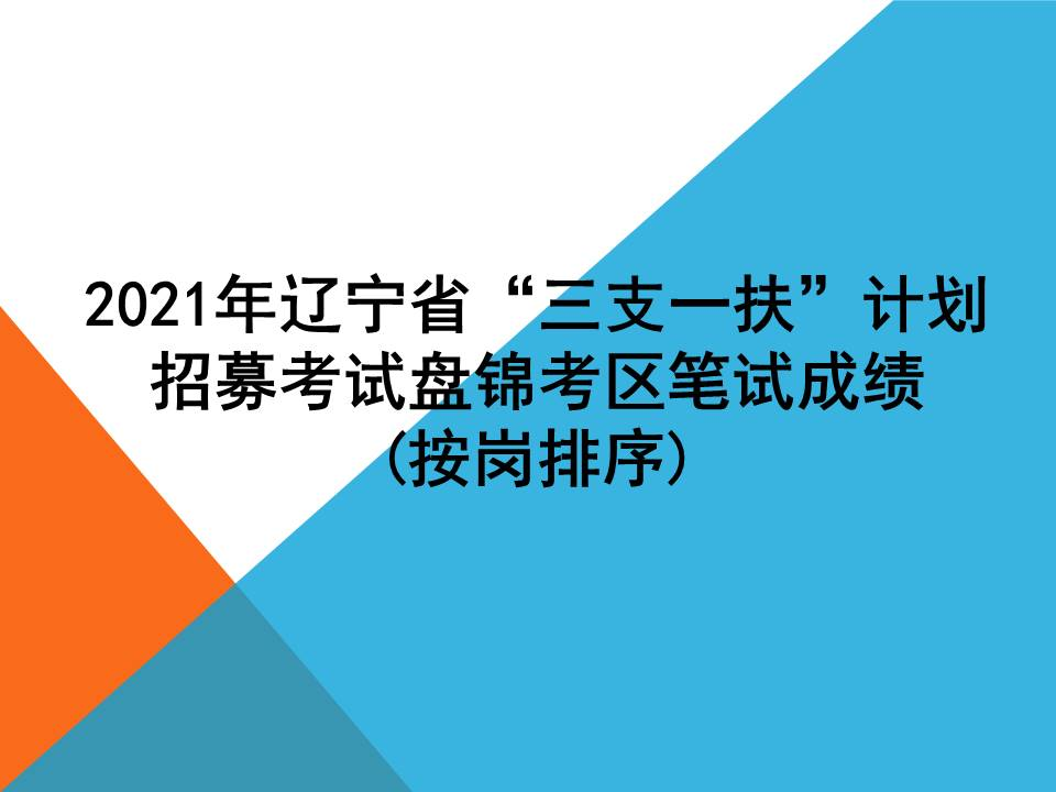 """2021年辽宁省""""三支一扶""""计划招募考试盘锦考区笔试成绩(按岗排序)"""